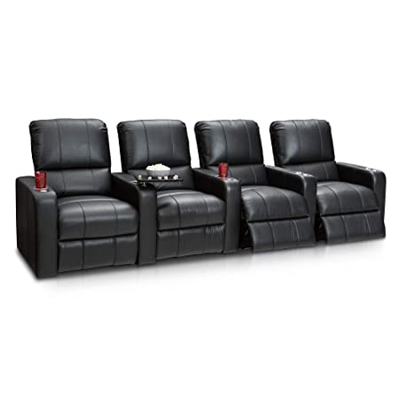Seatcraft Millenia Home Theater Seating Power Recline Leather Row of 4, Black