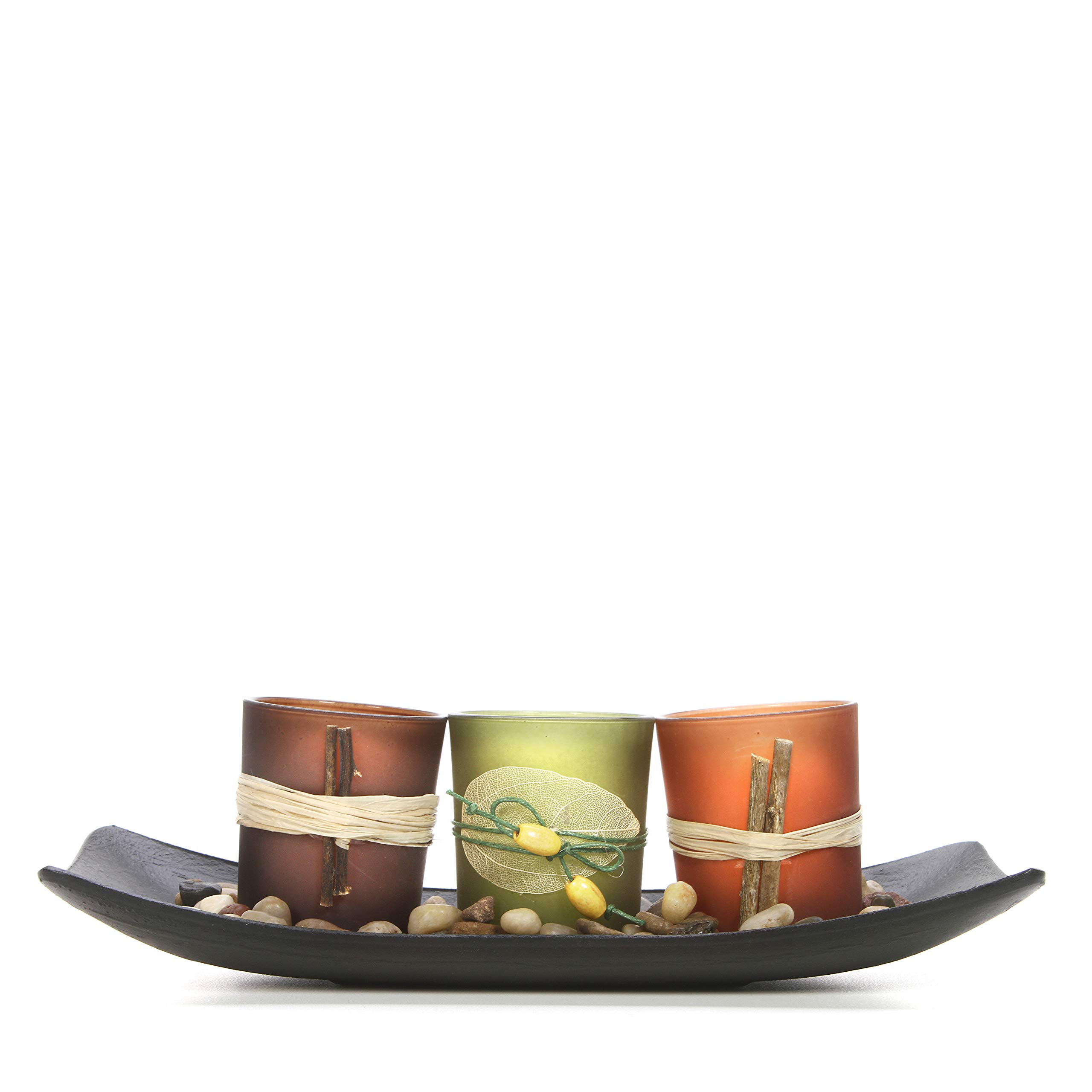 Hosley Natural Candlescape Set of 3 Decorative Candle Holders, Rocks and Tray 10'' Long. Ideal Gift for Wedding, Party, Spa, Aromatherapy LED Tea Light Votive Candle Gardens O5