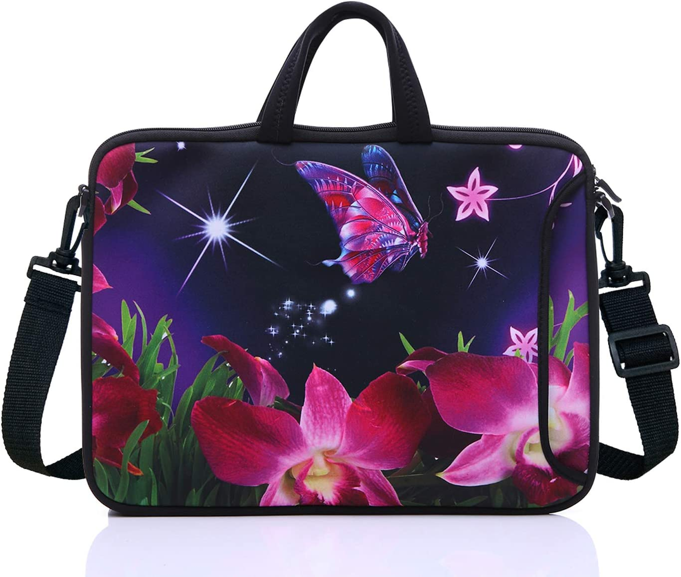 "17.3-Inch Laptop Shoulder Sleeve Bag Case With Handle For 17 17.3"" Acer Dell Hp Pink Flower"