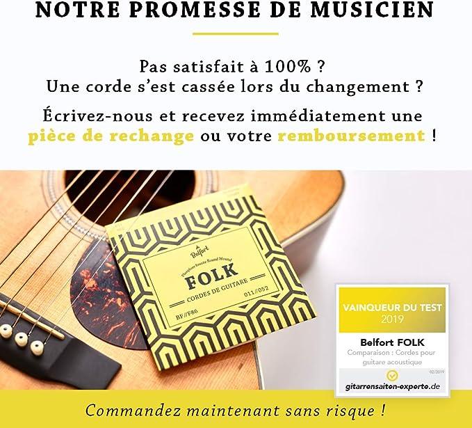 Belfort® Cuerdas ☆ 2019 Ganador de prueba ☆ Para guitarra folk y guitarra acústica ☆ Bono: Free ebook (idioma inglés no garantizado) + 3 púas ☆ Cadena de bronce fosforado (Paquete de 6 cuerdas): Amazon.es: Instrumentos musicales