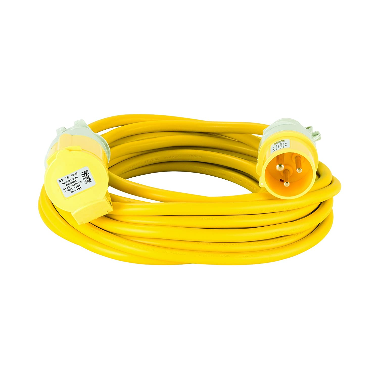 Defender E85123 10M Extension Lead-16A 2.5mm Cable 110V, 110 V, Yellow