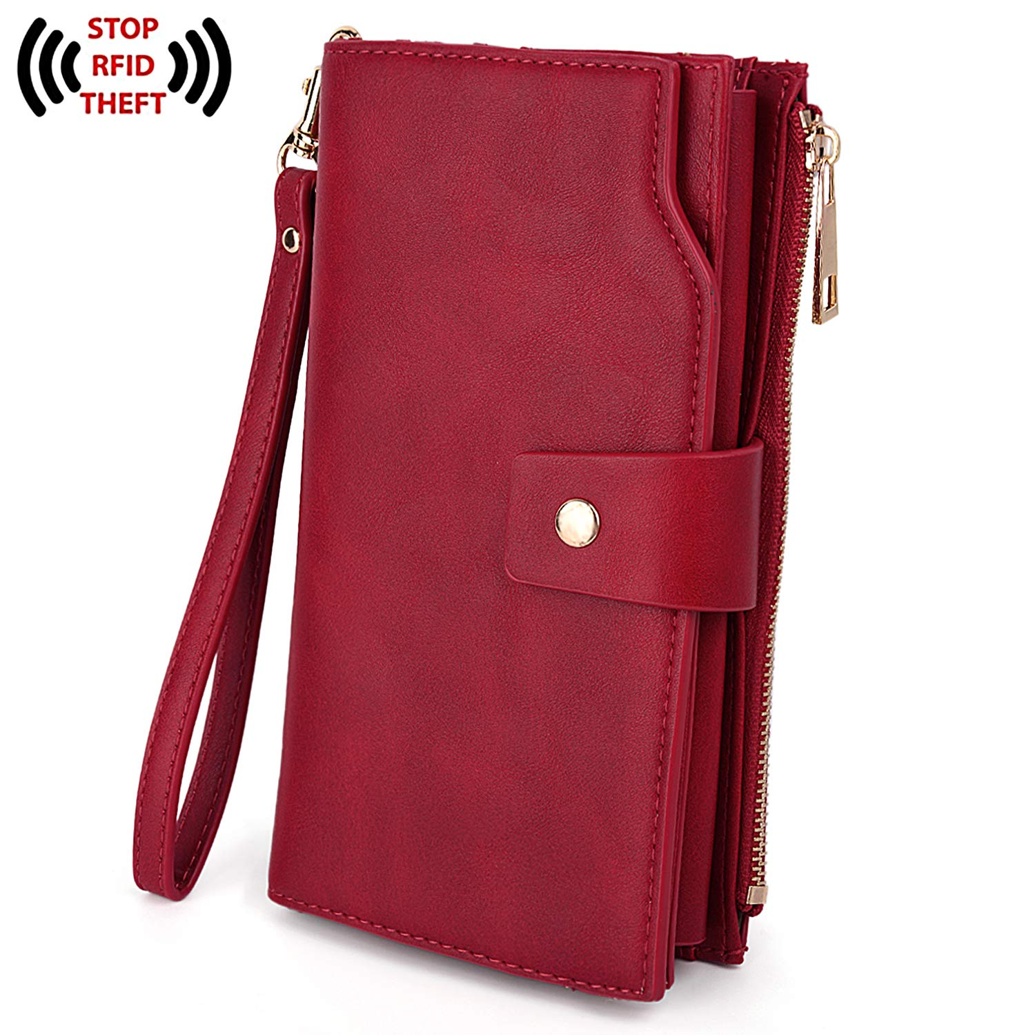 UTO Women's RFID Blocking Large Capacity PU Leather Clutch Wallet 21 Card Slots Holder Organizer Ladies Purse with Wristlet Red