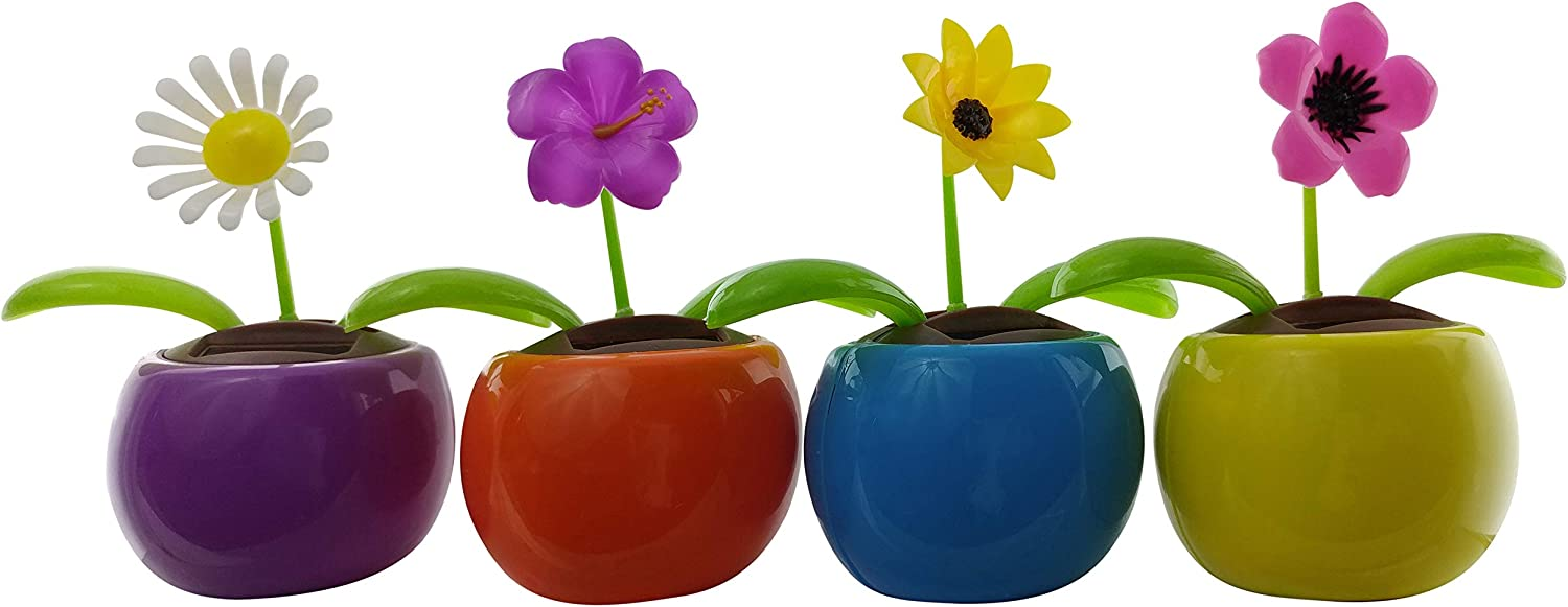 Eco Friendly Solar Powered Flower Dancing Toys | Car Dashboard Bobbleheads Funny, Office Decoration | (4 Pack) Daisy, Wildflower, Black-Eyed Susan and Petunia.