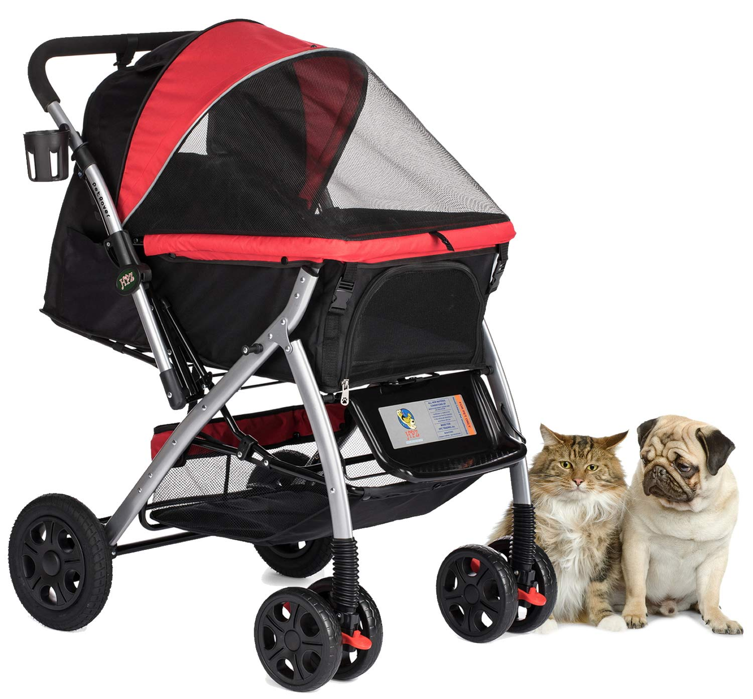 Red HPZ PET Rover Premium Heavy Duty Dog Cat Pet Stroller Travel Carriage with Congreenible Compartment Zipperless Entry Reversible Handlebar Pump-Free Rubber Tires for Small, Medium and Large Pets (Red)