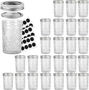 Mason Jars 8OZ, VERONES 8 OZ Canning Jars Jelly Jars With Regular Lids and Bands, Ideal for Jam, Honey, Wedding Favors, Shower Favors, Baby Foods, 24 PACK
