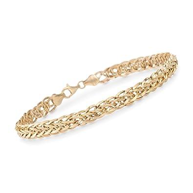 3518eb8aa Amazon.com: Ross-Simons 14kt Yellow Gold Wheat-Link Bracelet: Jewelry
