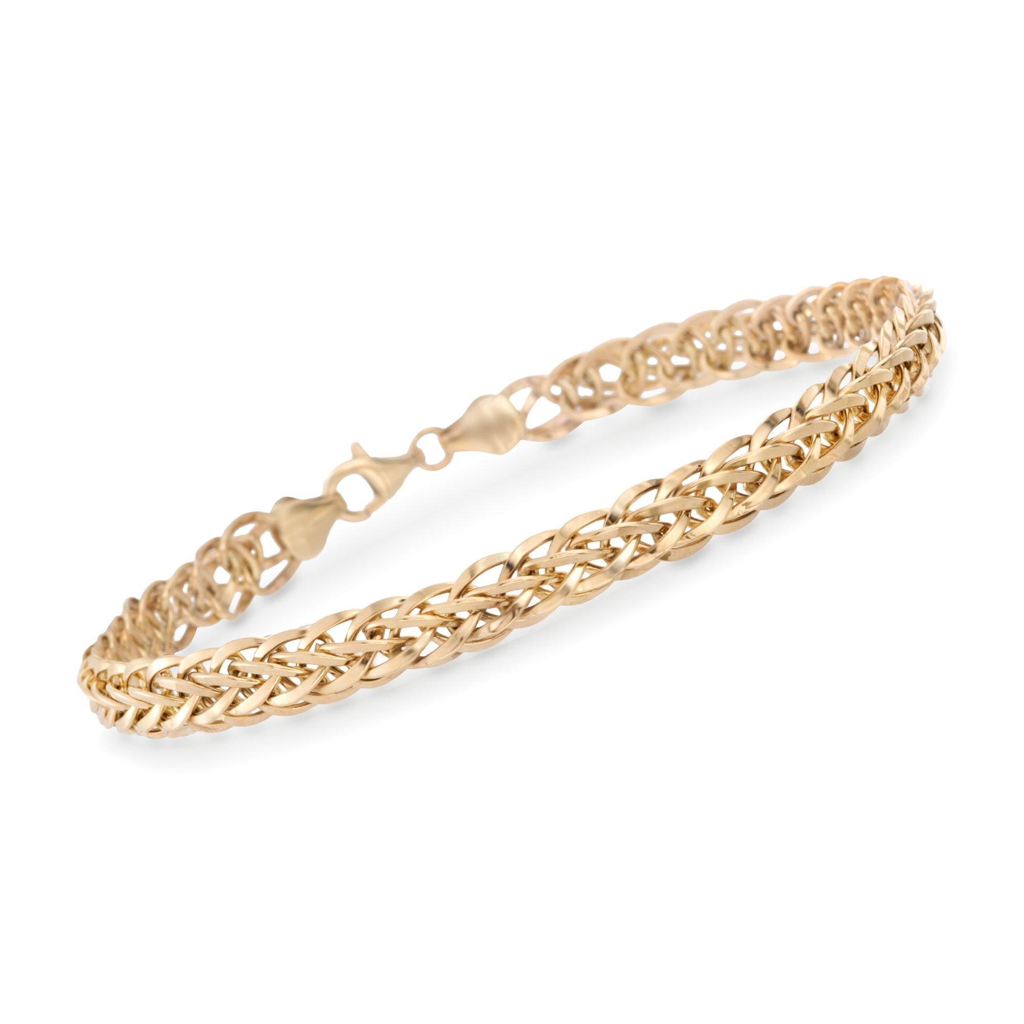 Ross-Simons 14kt Yellow Gold Wheat-Link Bracelet
