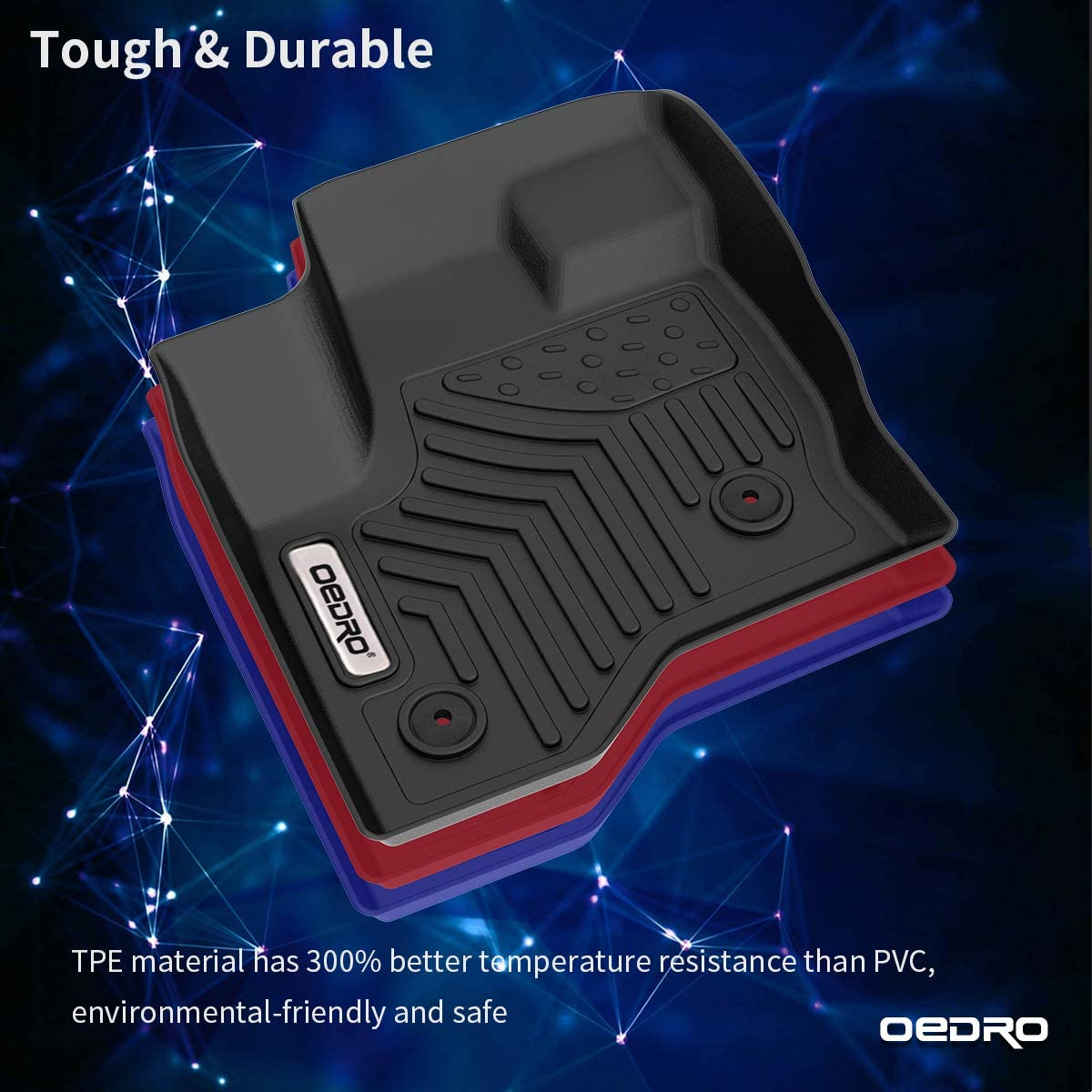 Unique Black TPE All-Weather Guard Includes 1st and 2nd Row: Front Rear oEdRo Floor Mats Compatible for 2009-2019 Ford Flex Full Set Liners