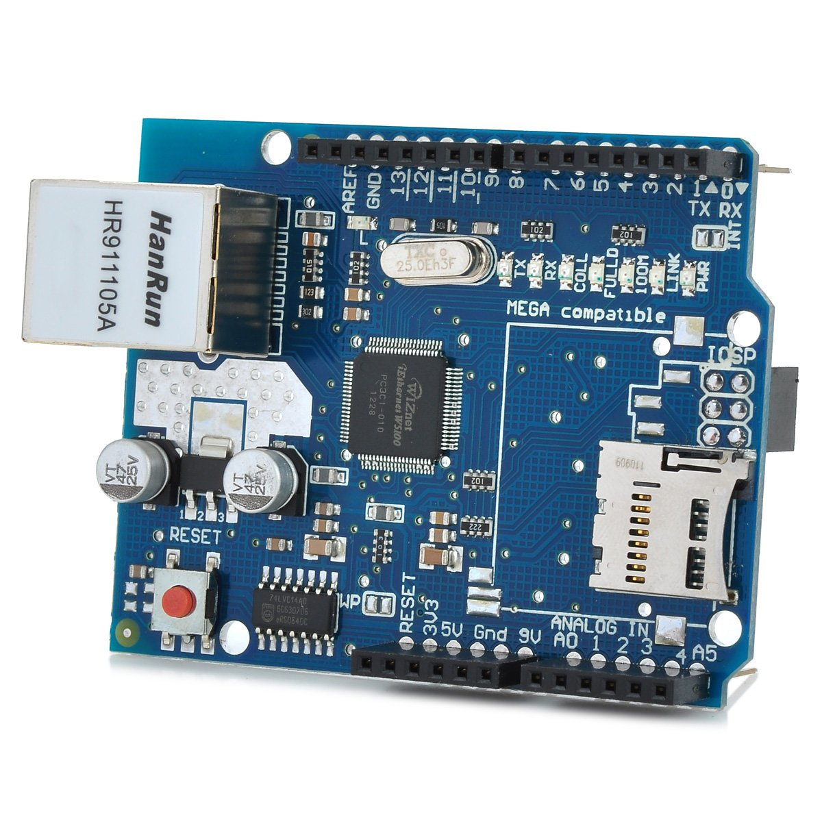 Blue Ethernet Network Expansion Board Micro SD Card Slot for Arduino by IDS Home (Image #1)