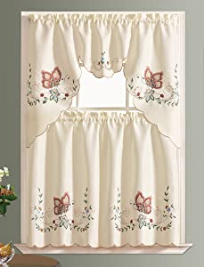 GOHD - Dancing Butterfly. 3pcs Multi-Color Embroidery Kitchen Curtain/Cafe Curtain Set with cutworks. (Burgundy)