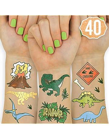 4338e179f xo, Fetti Dinosaur Temporary Tattoos for Kids - 40 Styles | Birthday Party  Supplies,