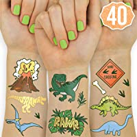 xo Fetti Dinosaur Tattoos for Kids - 26 Styles | Birthday Party Supplies Dinosaur Party Favors T-rex Decorations