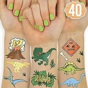 Amazon.com: Xo, Fetti Dinosaur Tatuajes para niños – 26 ...