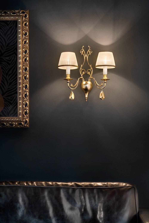 masiero lámpara de pared Belle epoke hojas oro de 24quilates oro a mano, Made in Italy, soplado artesanalmente