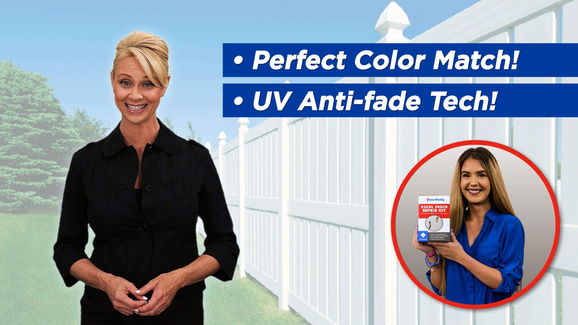Vinyl Fence Post Repair Kit (Alternative to Replacement Vinyl Fence Panels, Posts, Pickets, Sections, Rails and Parts) White