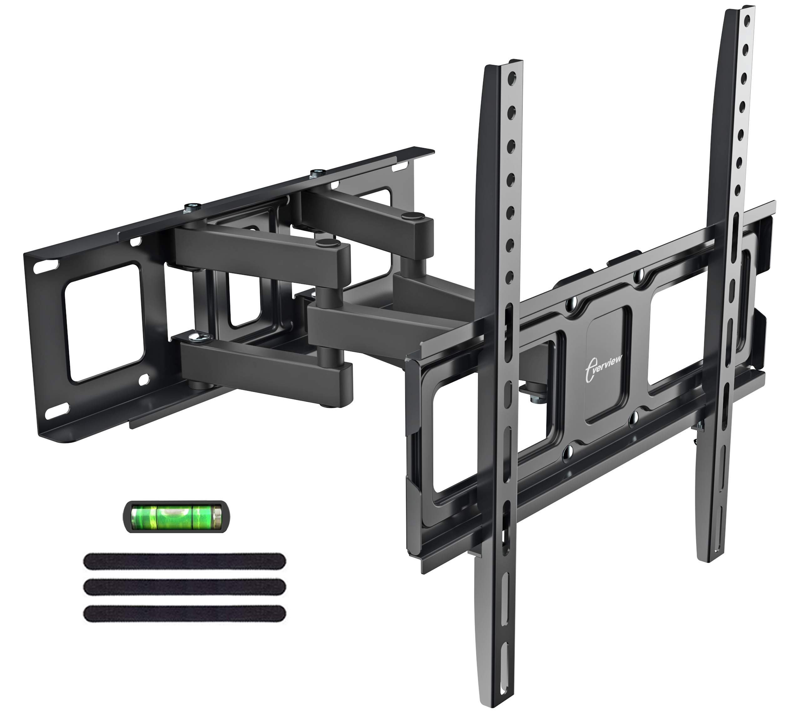 Dual Articulating Arms TV Wall Mount Bracket fits to Most 32''-55'' inch LED,LCD,OLED Flat Panel TVs, Tilt Full Motion Swivel 14.1'' Extension, Max VESA 400X400, 80lbs Loading-by EVERVIEW