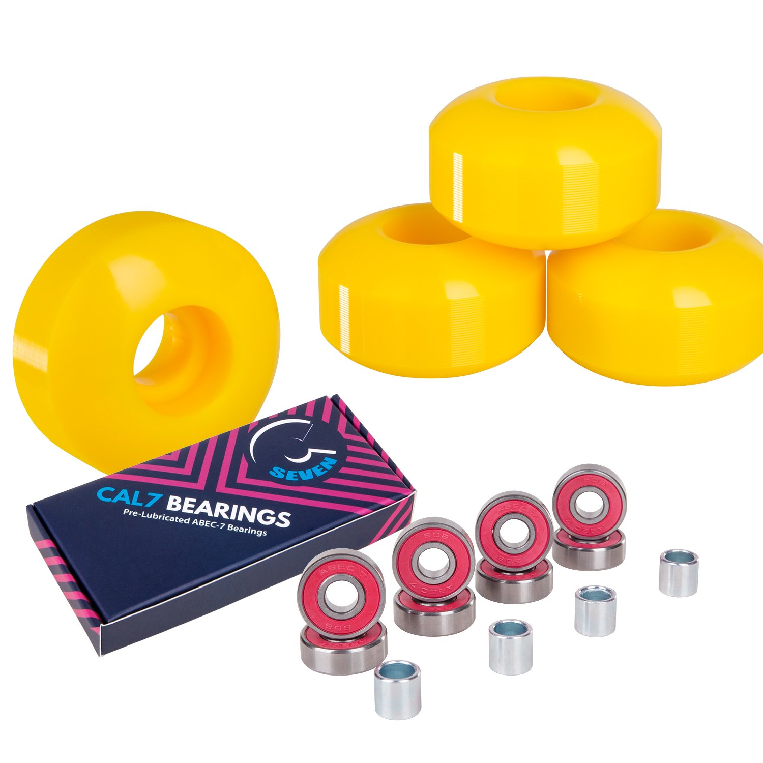 Cal 7 Skateboard Wheels and Bearings | 52mm 99A Wheel Set Combo (Yellow) by Cal 7