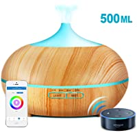 Sunfuny 500ml Smart Wifi Essential Oil Diffuser, 9 IN 1 Ultrasonic Aroma Diffuser Aromatherapy Humidifier Fragrance Vaporizer, App Control Works with Alexa, Timer and Auto-Off Safety, 7 LED Light Colors, Easter Gift
