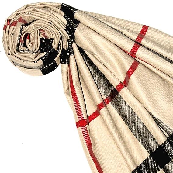 gewebt Karo Muster 70 x 180 cm Tuch Naturfaser Beige Rot Schwarz 93330 Lorenzo Cana Hochwertiger Schal Damenschal Pashmina Schaltuch jacquard
