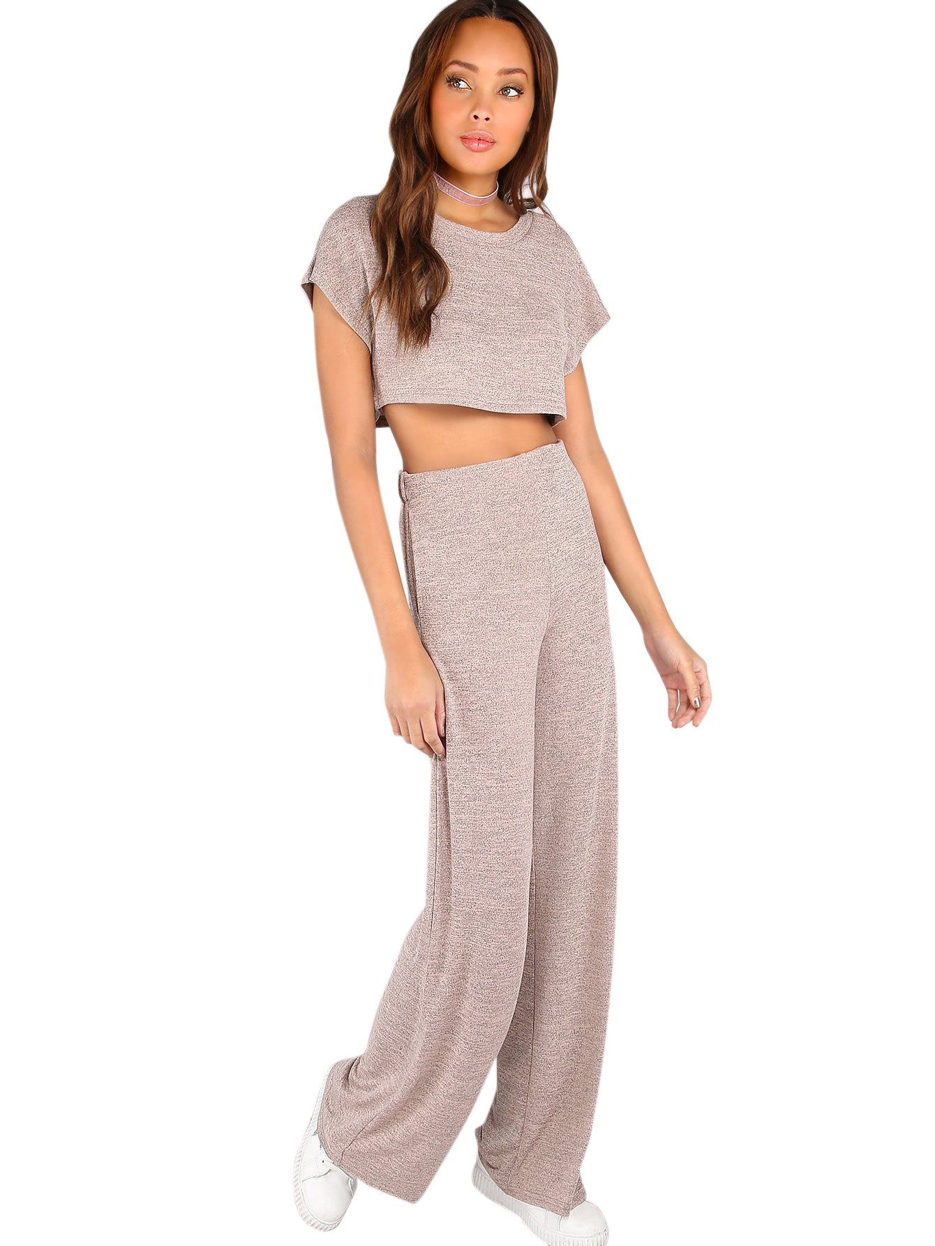 Verdusa Women's Sporty 2 Pieces Sets Loose Crop Top and Wide Leg Pants Blush L by Verdusa (Image #4)