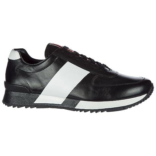 Prada Scarpe Sneakers Uomo in Pelle Nuove Nero  Amazon.it  Scarpe e borse 456d440ac9e