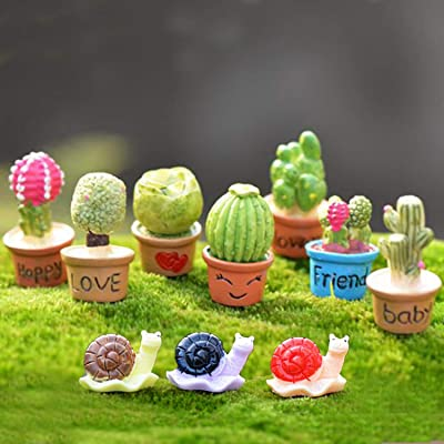 Ruzucoda Miniature Succulents Plants Fairy Garden Figure Toys Party Decorations with Snails : Garden & Outdoor
