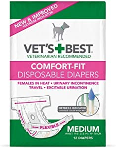 Vet's Best Comfort Fit Dog Diapers Disposable Female Dog Diapers Absorbent with Leak Proof Fit