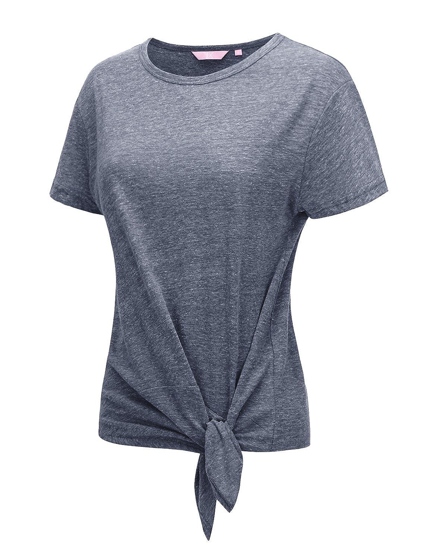 75a3a8d7 Womens Short Sleeve Round neck Soft Cotton Tri-blend T-shirt Top 3 Style  Short Sleeve / Crewneck / Front tie detail / Super Soft ...