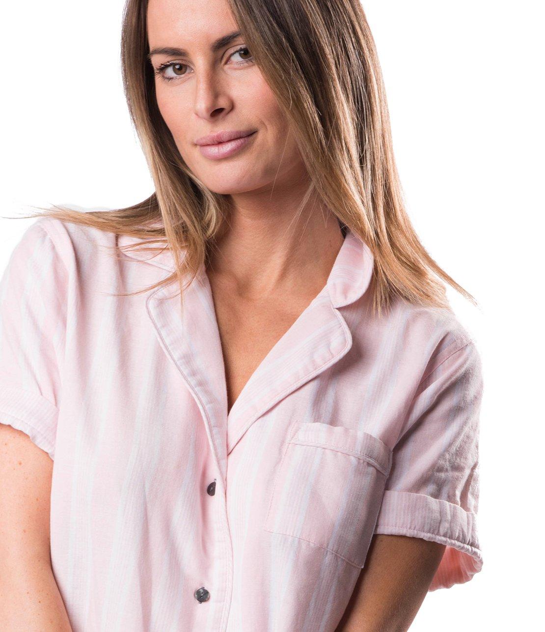 Naked Women's Double Gauze Cotton Pajama Set, Belair Blush Pin Stripe, Extra Small by Naked (Image #3)