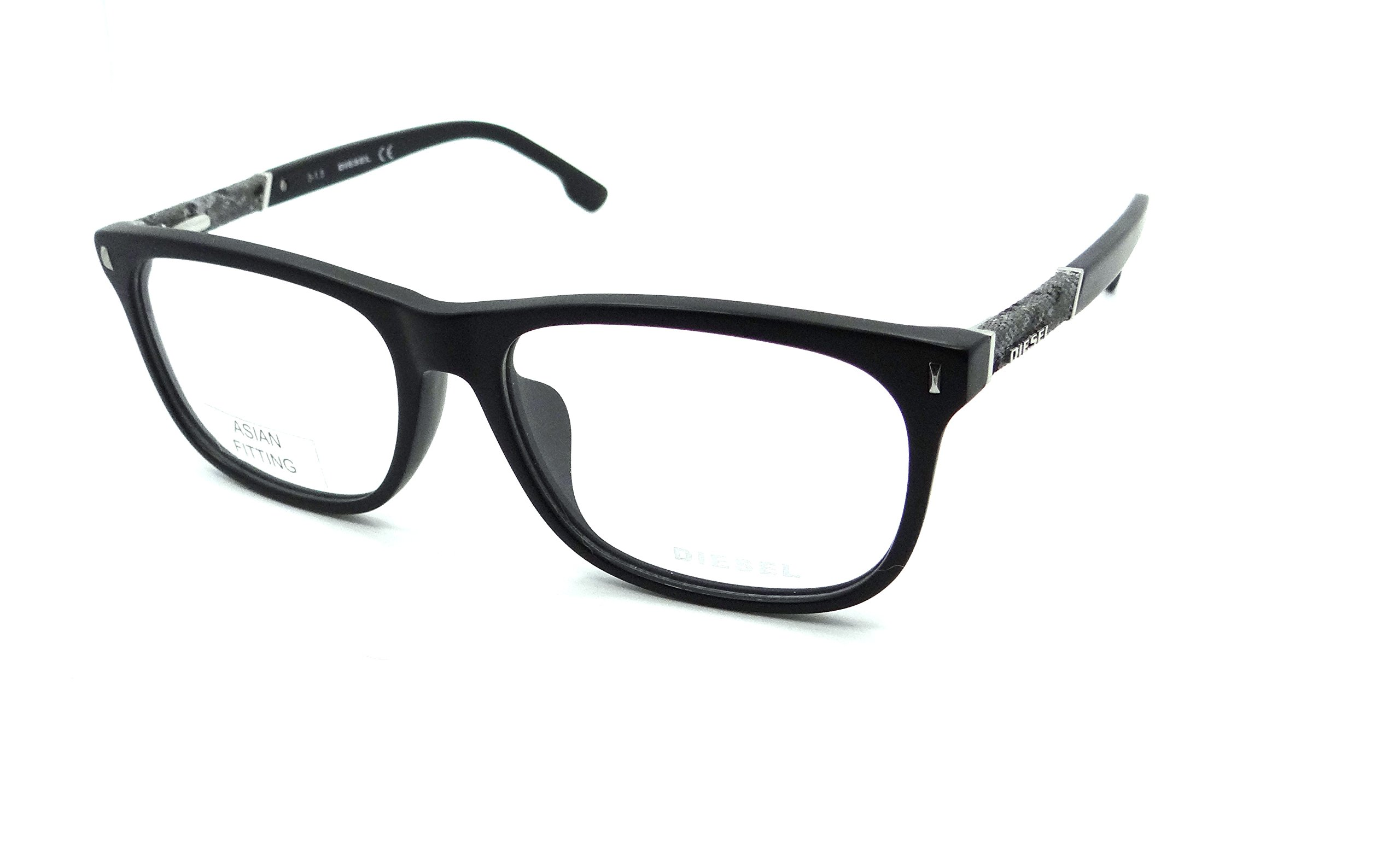 Diesel Rx Eyeglasses Frames DL5157-F 002 58-17-150 Matte Black / Denim Asian Fit