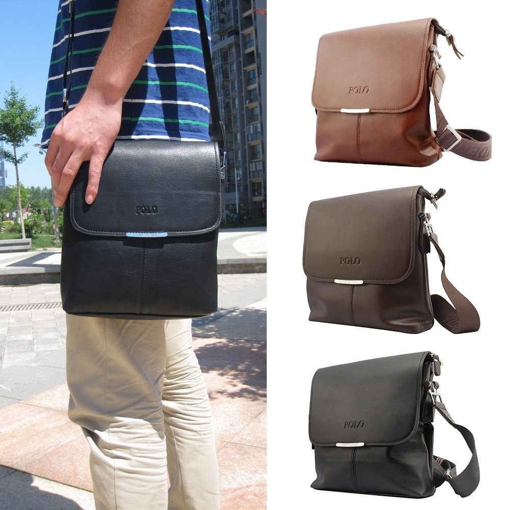 Black New Mens Fashion Leather Casual Business Leather Messenger Shoulder Bag Vintage