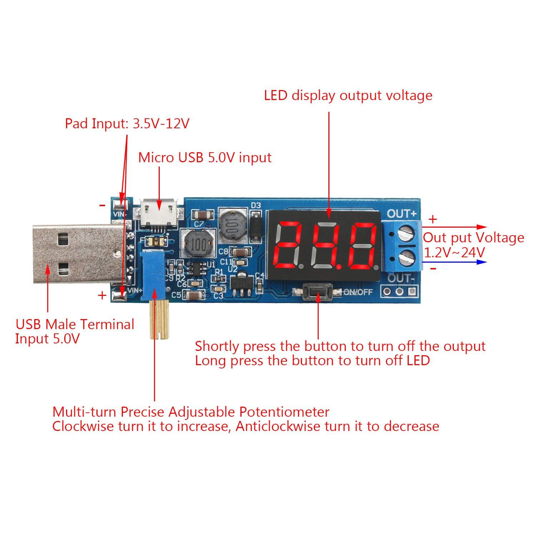 3.3V 5V 9V Adjustable Output Power Supply Step Up Down Voltage Transformer Module DROK 2pcs DC 3.5V-12V to 1.2V-24V Buck Boost Converter Board USB Input Regulator