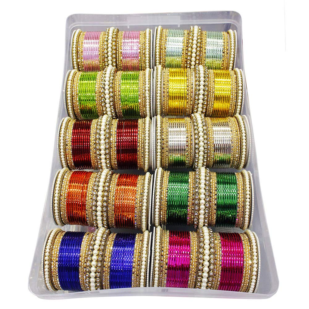 MUCH-MORE Glamorous Bollywood Fashion Indian Bangles Box Multi Color Party wear Bangles Jewelry (83, 2.8) by MUCH-MORE (Image #3)