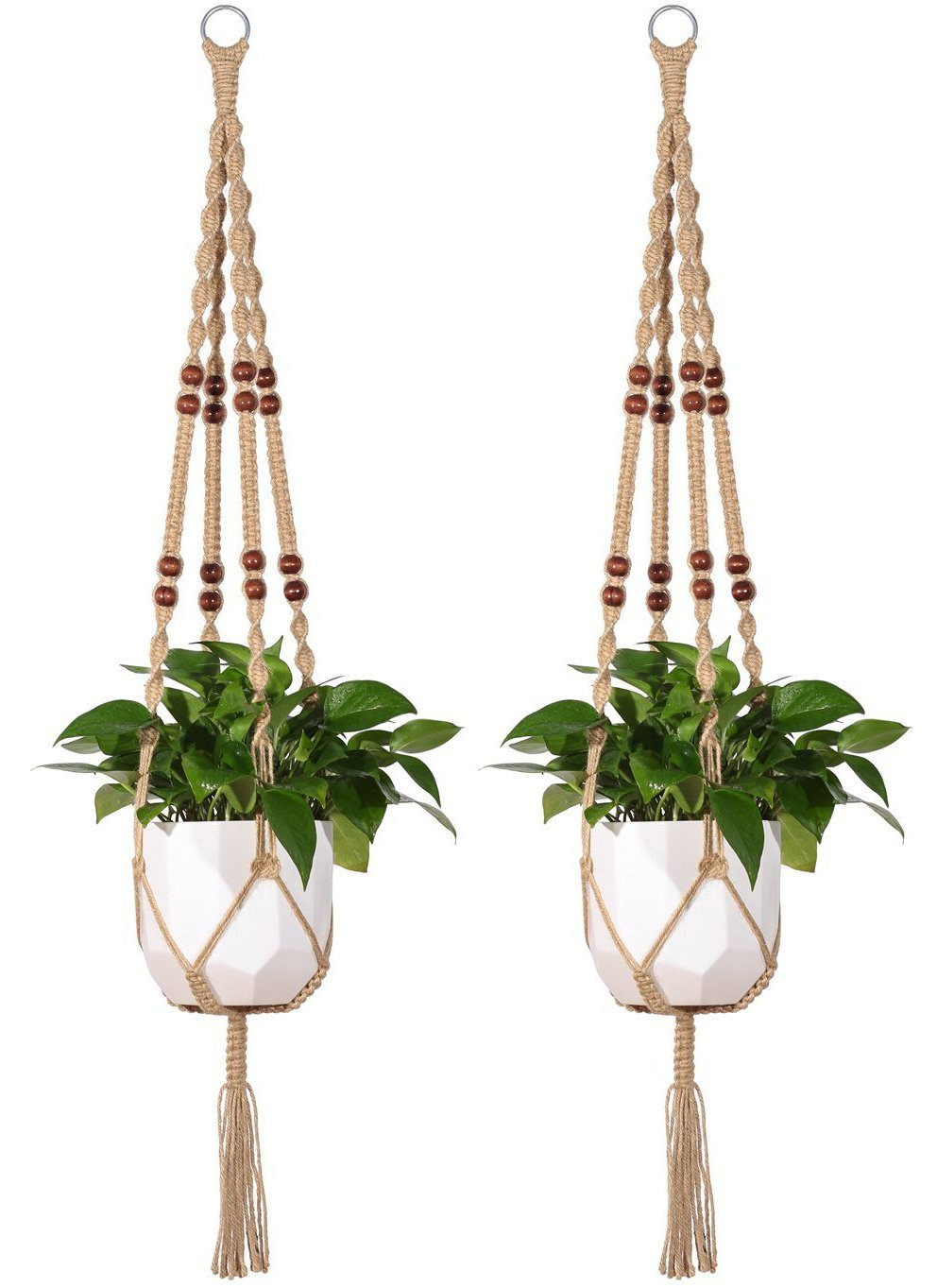 Mkono 2 Pcs Macrame Plant Hanger Indoor Outdoor Hanging Planter Basket Jute Rope with Beads 4 Legs 48 Inch