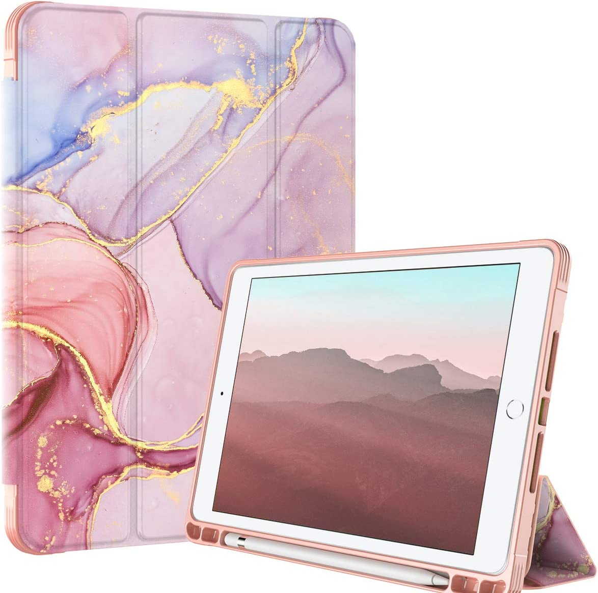 PIXIU Compatible with iPad 9.7 inch Case with Pencil Holder,ipad 6th /5th Generation Cases,Full Body Protective Folio Leather Smart case Cover with Wake/Sleep Feature (Purple Marble)