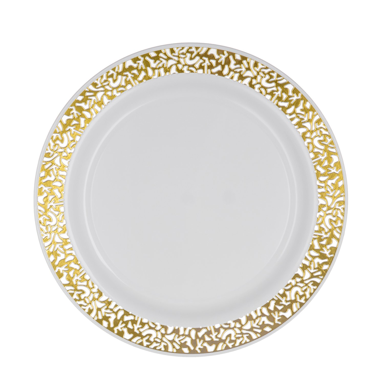 Party Essentials N367359 Plastic Plates with Silver Rim Case of 144 10.25-Inch White with Silver