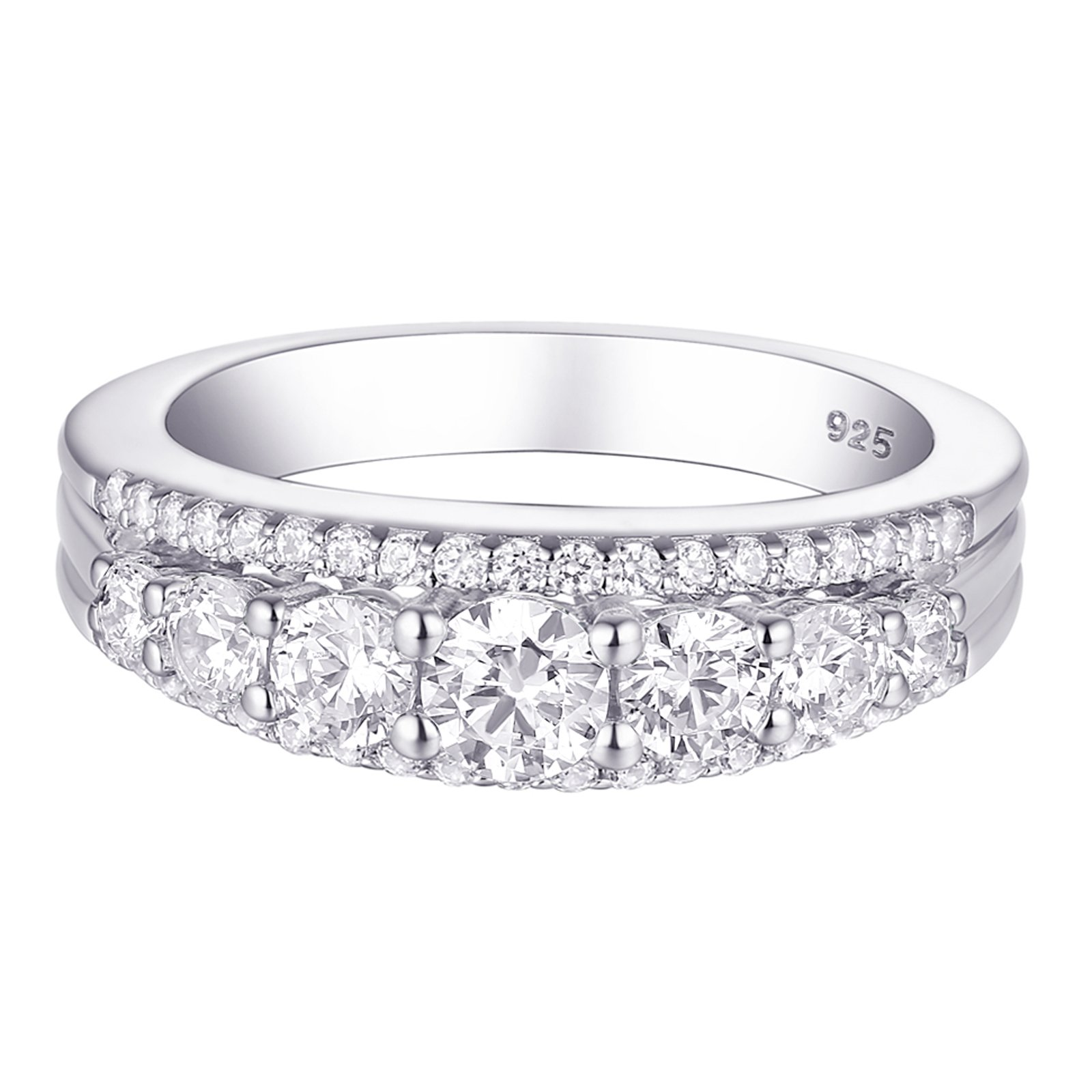 Newshe 1.13ct Round White AAA Cz 925 Sterling Silver Wedding Band Eternity Ring Size 9