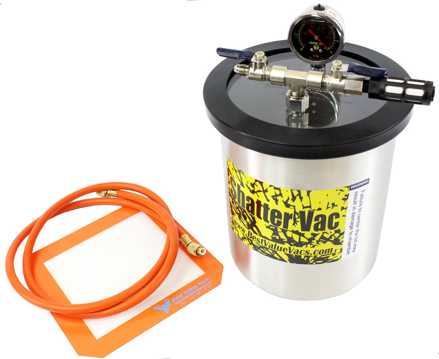1.5 Gallon Tall Stainless Steel SVac Vacuum Degassing Chamber and Mini 3CFM Single Stage Vacuum Pump Kit by BEST VALUE VACS (Image #2)