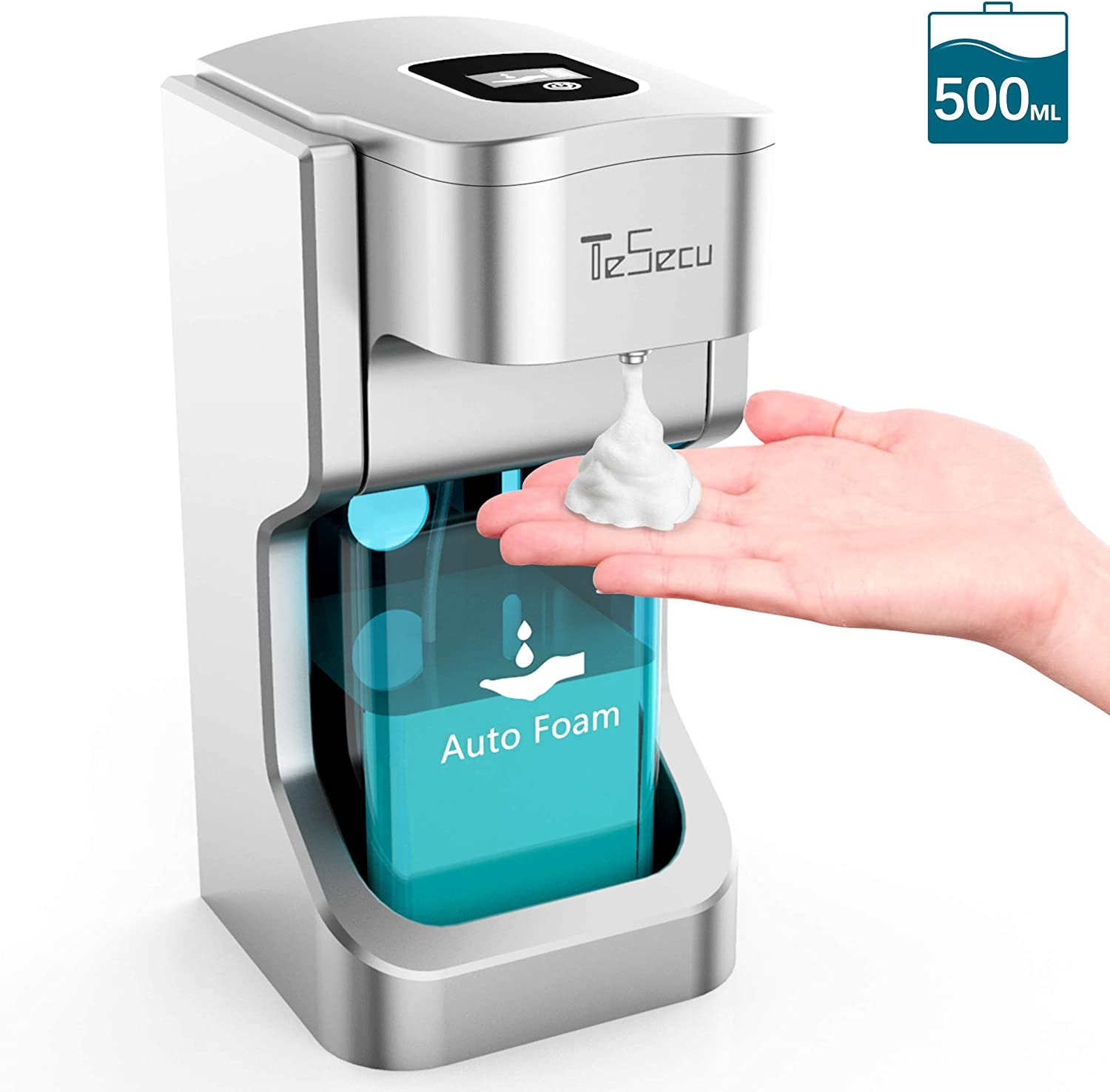 TESECU Automatic Soap Dispenser Touchless Foaming Soap Dispenser Bath Kitchen Countertop Soap Dispenser with Infrared Motion Sensor, Waterproof, 500ml Large Capacity
