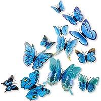 DAGOU Mixed of 12PCS 3D Pink Butterfly Wall Stickers Decor Art Decorations¡ (Blue)