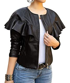 a2f41fe19644c lovecarnation Women Sexy Short Coat Jacket Zip Up Long Sleeves Ruffle Faux  Leather PU Jacket
