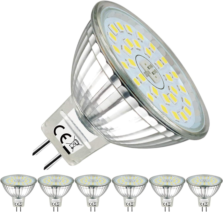 EACLL Bombilla LED GU5.3, luz blanca fría, 6000 K, MR16, 12 V, 6 W, 485 lúmenes, repuesto perfecto para bombillas halógenas de 50 W, luz blanca fría, 120°, 6 unidades