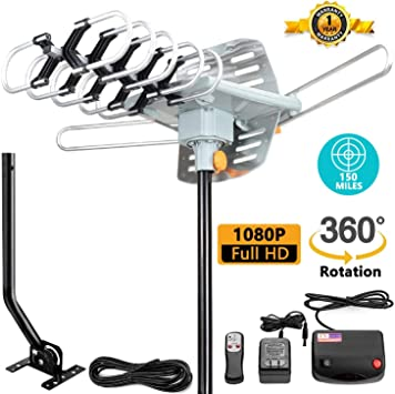 Newest Outdoor 150 Mile 360 Degree Rotation OTA Amplified HDTV Antenna for 2 TVs