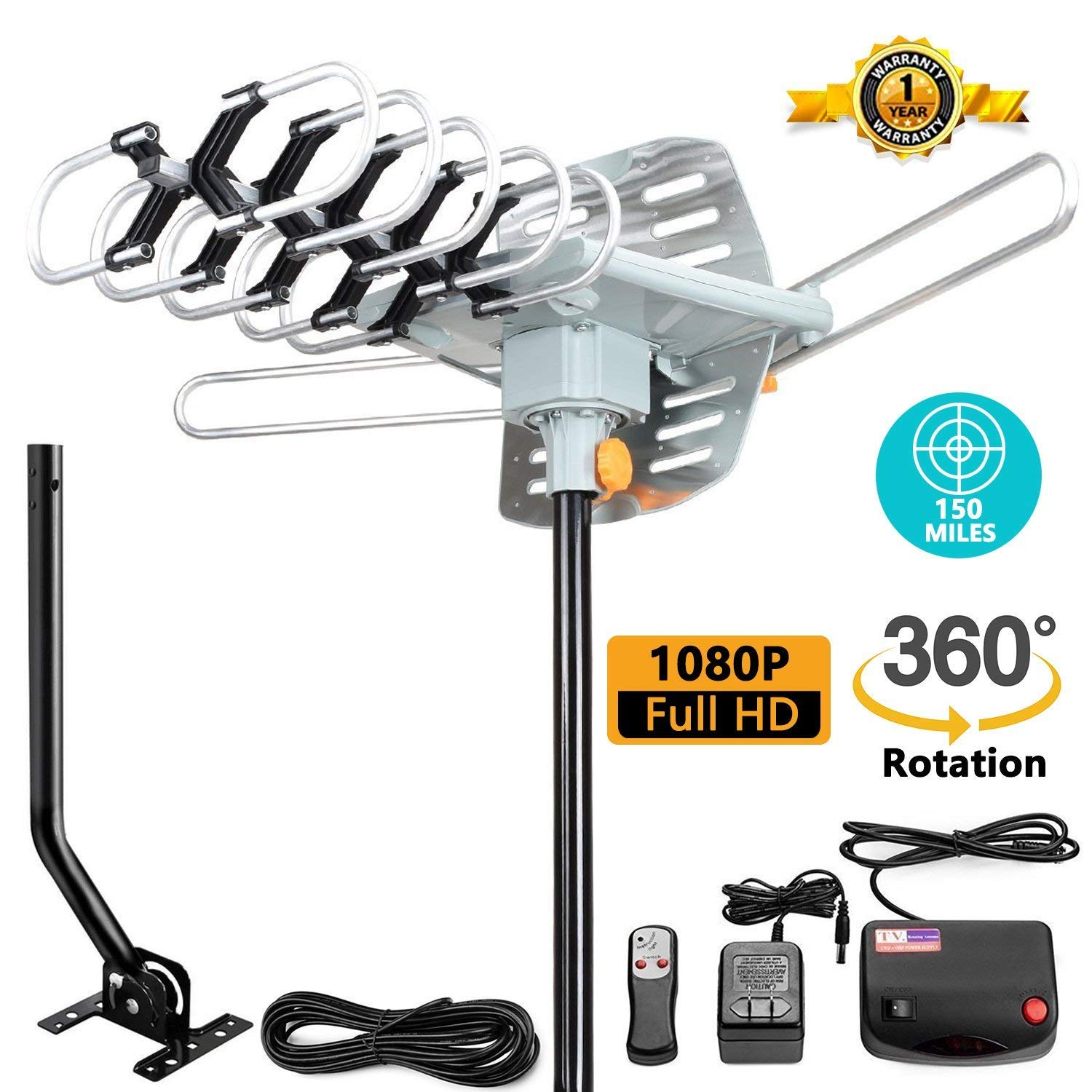 TV Antenna -Outdoor Amplified HDTV Antenna 150 Mile Motorized Adjustable Antenna Mount Pole 2 TVs Support - UHF/VHF 4K 1080P Channels Wireless Remote Control - 33FT Coax Cable … by MATIS