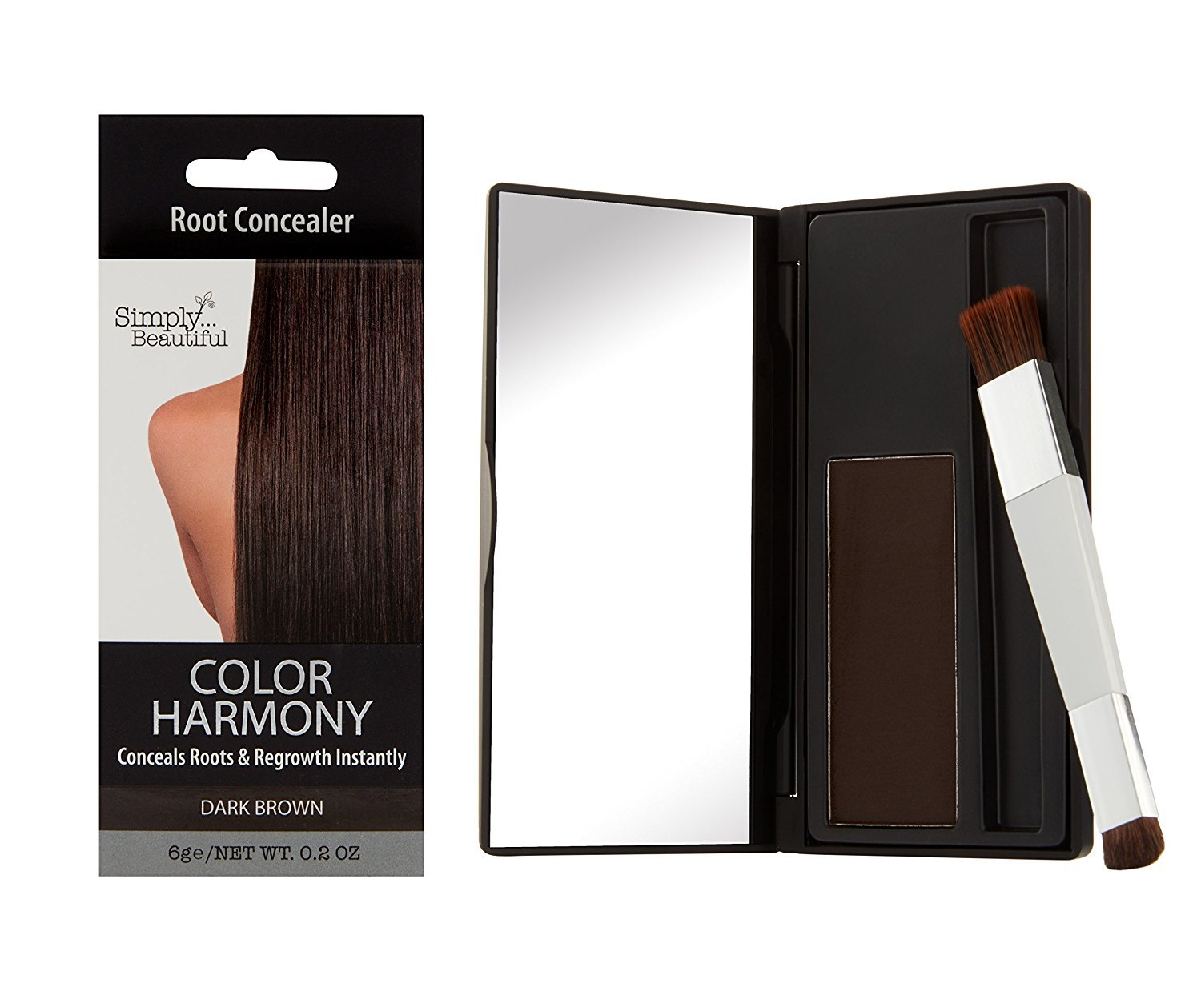 Hair Color Root Touch-Up Powder by Color Harmony: Conceals Grey and Dark Roots, Water Resistant Cover-Up; Non-Sticky, Simple To Apply and Mess-Free Root Concealer Mascara (Dark Brown) by Second Glance Beauty