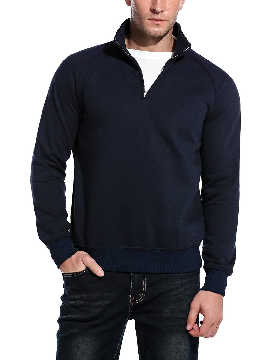 Coofandy Mens Slim Fit Polo Sweaters Casual Long Sleeve 14 Zip Up