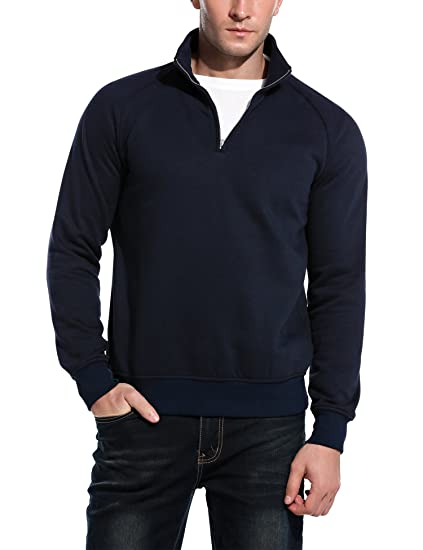 b80c84bc9cd COOFANDY Men s Slim Fit Polo Sweaters Casual Long Sleeve 1 4 Zip Up ...