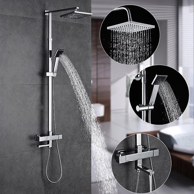 Auralum - Set de ducha extensible (82~140 cm)  con Grifo ...
