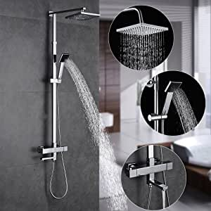 Auralum® Duch Set ducha Termostato Con grifo para baño y bañera ...