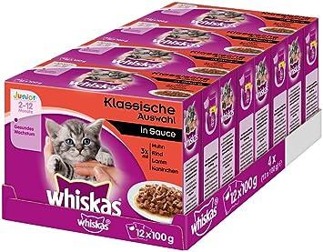 whiskas Gato Forro Junior para niño heranwachsende Gatos, 48 Mucha Bolsa, (4 x 12 x 100 g): Amazon.es: Productos para mascotas